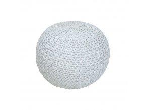 Pletený taburet GOBI TYP 1 - smetanová (bílý melír) bavlna