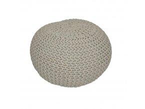 Pletený taburet GOBI TYP 1 - hnědošedá bavlna