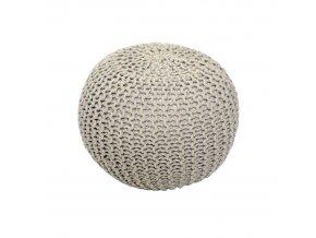 Pletený taburet GOBI TYP 2 - krémová bavlna