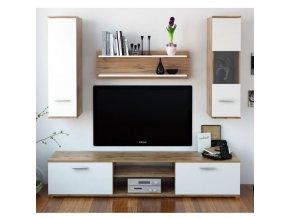 Obývací stěna WAW - dub wotan / bílá
