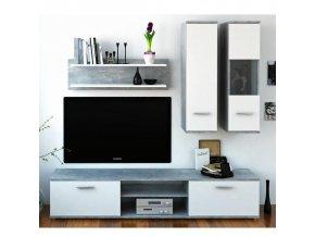 Obývací stěna WAW - beton / bílá