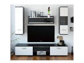 Obývací stěna WAW - černá / bílá