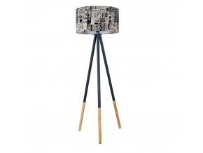 Stojací lampa Cinda Typ 6 - černý kov / látka