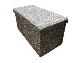 Skládací taburet FARGO - tkanina v šedém vzoru