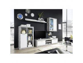 Obývací stěna KLARK - bílá / beton