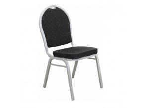 Jednací židle JEFF 2 NEW - látka černá / rám šedý