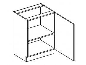 D60P dolní skříňka jednodvéřová PREMIUM de LUX olše