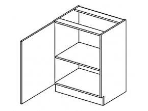D60L dolní skříňka jednodvéřová PREMIUM de LUX olše