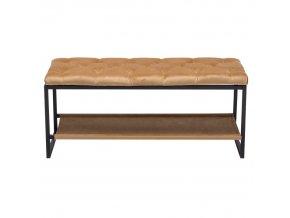 Designová lavice VIKAR - černý kov/béžová látka
