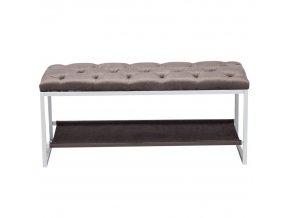 Designová lavice, bílý kov / šedá látka 12, VIKAR