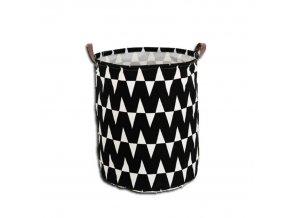 Koš na prádlo PLEJO TYP 1 - černý / vzor bílá