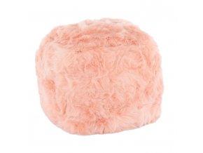 Taburet AZENE - umělá kožešina korálová