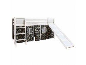 Dětská postel se skluzavkou VERDI - borovicové dřevo/bílá