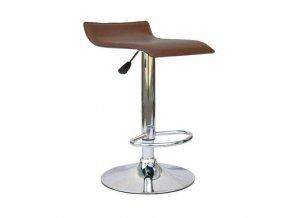 Barová židle LARIA NEW - ekokůže hnědá / chrom