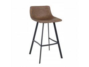 Barová židle, tmavohnědá / černý kov, FALUN