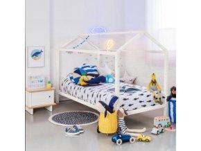 Montessori postel IMPRES - borovicové dřevo/bílá