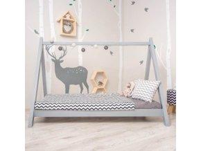 Montessori postel GROSI - borovicové dřevo / šedá