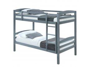 Patrová postel FORKOLA, 90x200 cm - masivní dřevo / šedá
