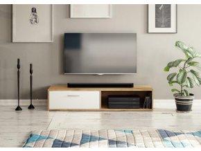 TV stolek Skip dub appalachian/bílá