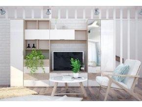 Obývací stěna TERRA II sonoma/bílá lesk