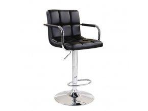 Barová židle Leora 2 NEW - černá ekokůže / chrom