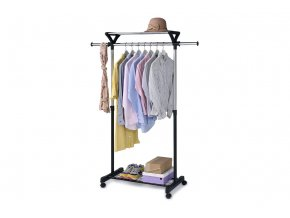 Stojan na šaty s regálem na boty ABD-1218 BK - barva černá / chrom