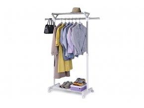 Stojan na šaty s regálem na boty ABD-1218 WT - barva bílá / chrom