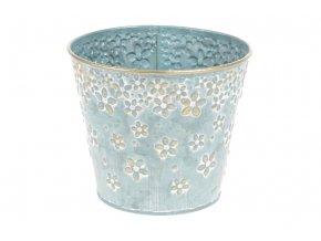 Obal z kovu na květiny v modré barvě s dekorem květin OK6316-BLUE