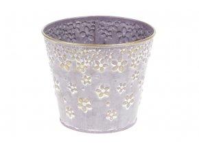 Obal z kovu na květiny v lila barvě s dekorem květin OK6316-LILA