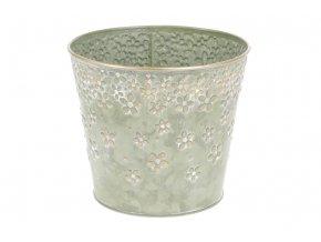 Obal z kovu na květiny v zelené barvě s dekorem květin OK6317-GRN