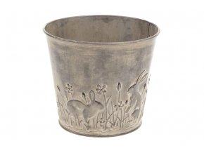 Obal na květiny z kovu s dekorem zajíčků OK6323-KZ