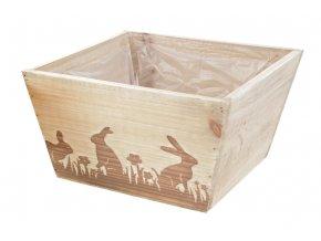 Dřevěný truhlík s dekorem zajíčků OK6324-ZA