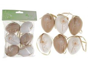 Vajíčka plastová hnědá a bílá, sada 6 kusů VEL5049-BROWN