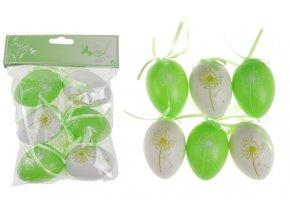 Vajíčka plastová zelená a bílá, sada 6 kusů VEL5049-GRN