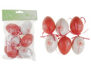 Vajíčka plastová červená a bílá, sada 6 kusů VEL5049-RED