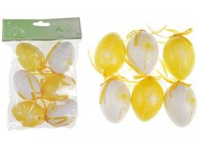 Vajíčka plastová žlutá a bílá, sada 6 kusů VEL5049-YEL