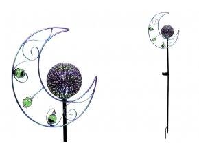 Měsíc s LED světlem, kovová zahradní dekorace (baterie na solární dobíjení) ZS4410