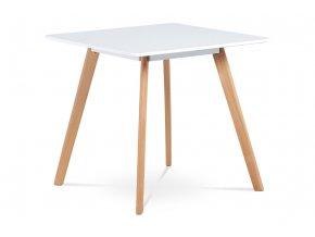 Jídelní stůl 80x80 cm DT-606 WT - MDF, bílý matný lak, masiv buk, přírodní odstín
