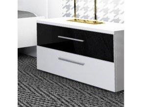 Noční stolek DEVON NEW - bílá / černý lesk HG - II.JAKOST