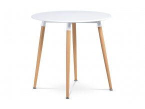 Jídelní stůl pr.80 cm DT-608 WT - bílá/buk