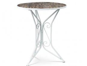 Stůl kovový s mozaikovou keramickou deskou, bílý kov US1000