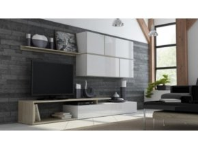 Obývací stěna GOYA - bílá/bílá/dub Sonoma