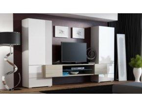 Obývací stěna TORI - bílá/bílá/dub Sonoma