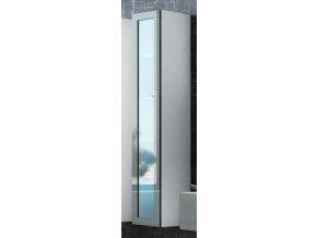 Vitrína VIGO vysoká, prosklené dveře - bílá/šedá