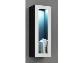 Vitrína VIGO, prosklené dveře - černá/bílá
