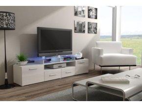 Televizní stolek Evora RTV - bílá/bílý lesk