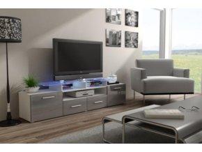 Televizní stolek Evora RTV - bílá/šedý lesk