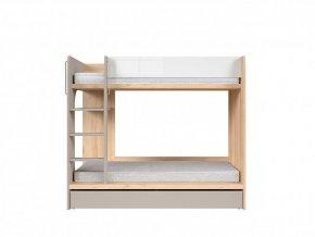 Dvoupatrová postel Namek - buk iconic/bílý lesk/šedá