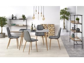 Jídelní stůl Next - kouřové sklo/nohy dub medový