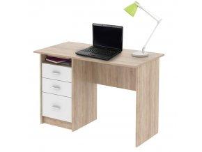 PC stůl SAMSON - dub sonoma/bílá